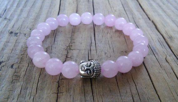 Pink rose quartz bracelet with Buddha head bead  genuine rose