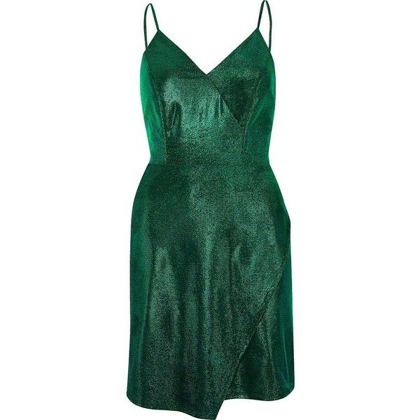 River Island Green metallic wrap slip dress ($68) ❤ liked on Polyvore featuring dresses, plunge-neck dresses, metallic dress, bodycon dress, bodycon wrap dress and tall dresses