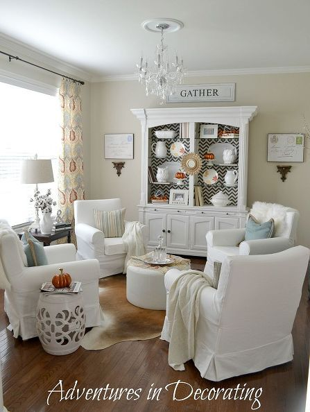 chic living room makeover furniture chevron fabric and