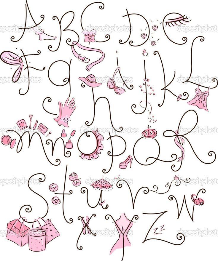 Alfabet illustratie met een girly thema