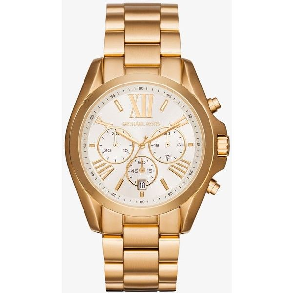 Michael Kors Michael Kors Oversize Bradshaw Gold-Tone Watch ($250) ❤ liked on Polyvore featuring jewelry, watches, stainless steel chronograph watch, chronos watch, oversized watches, stainless steel jewelry and michael kors