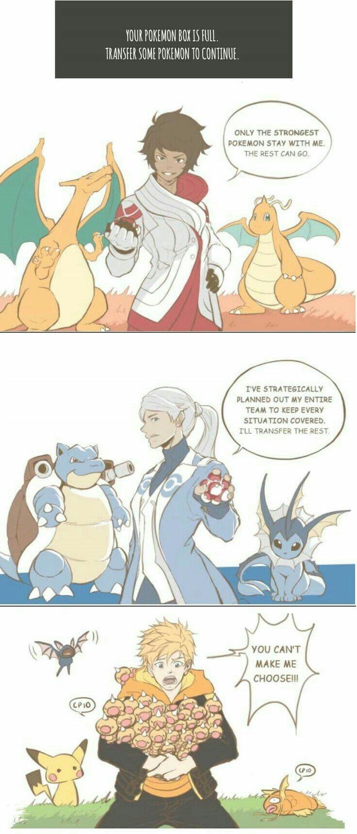 Your Pokémon box is full, transfer some Pokémon to continue, funny, text, Team Mystic, Team Instinct, Team Valor, Trainers, comic, Pokémon, cute, Pokémon Go; Pokémon