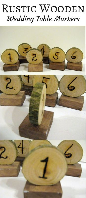 Rustic wooden wedding table markers with wood burned numbers. (Affiliate link)
