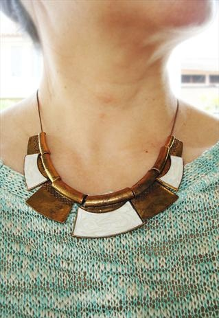 white & gold contemporary ethnic necklace