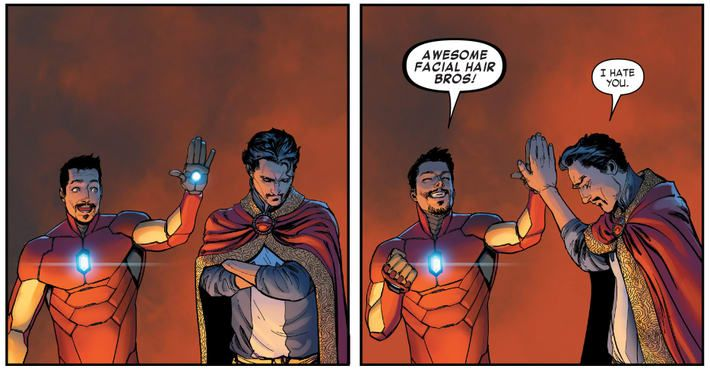 Kevin Feige is as up for a #DoctorStrange/#IronMan team-up as we are!