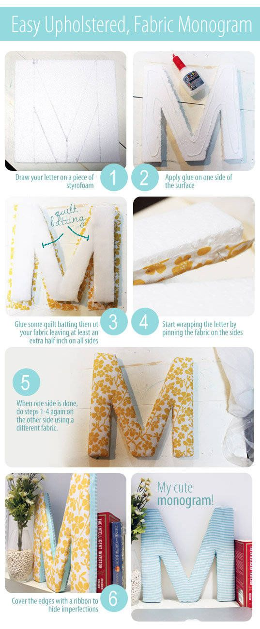Make one for each of our rooms and hang them on the doors!!   A #DIY monogram project to add to your #dorm room's #decor.