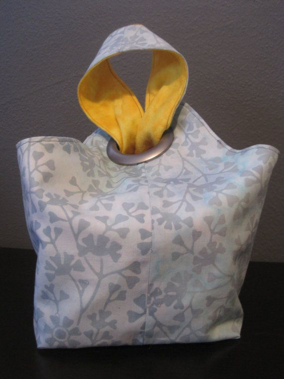 Small Reversible Canvas Lunch Bag Japanese by BlueBearsEmporium
