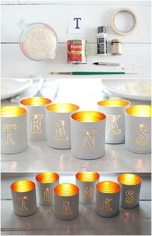 Tin Can Votive Candles with Letters