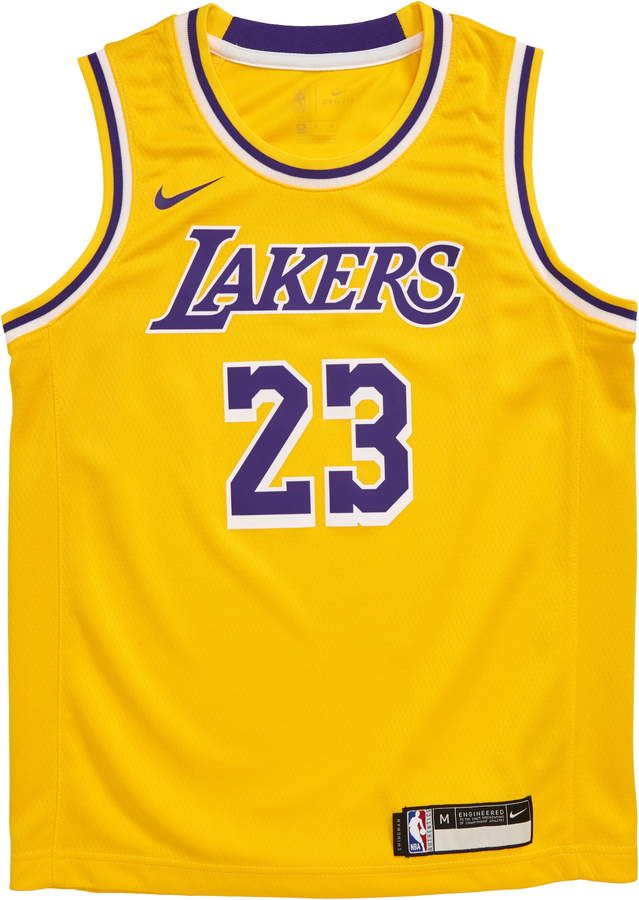Nike NBA Los Angeles Lakers LeBron James Basketball Jersey ...