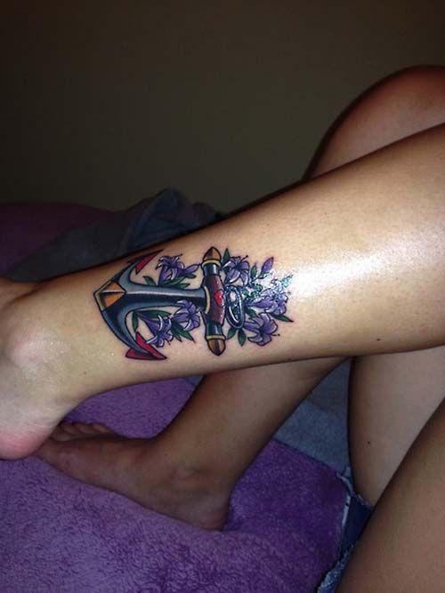 purple anchor tattoo for woman ankle mor çapa dövmesi ayak bileği
