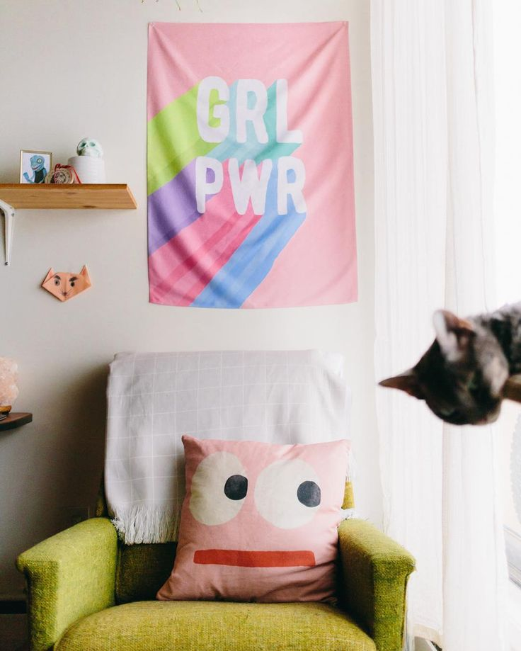 Some girl power side-eye a Frankenstein photobomb and my fave skull candle from @embercandleco  Shop the wall tapestry  pillow in my Etsy shop (link in profile). . . . . . . #etsyhome @etsysuccess #etsy #etsyfinds #etsyshops #girlpower #grlpwr #feminism #feminist  #tapestry #wallart #homedecor #midcentury #throwpillows #pillow #pink #devonrex #cat #photobomb #kitsch #cute #home #homestyle #interiordecor #illustration #shopsmall