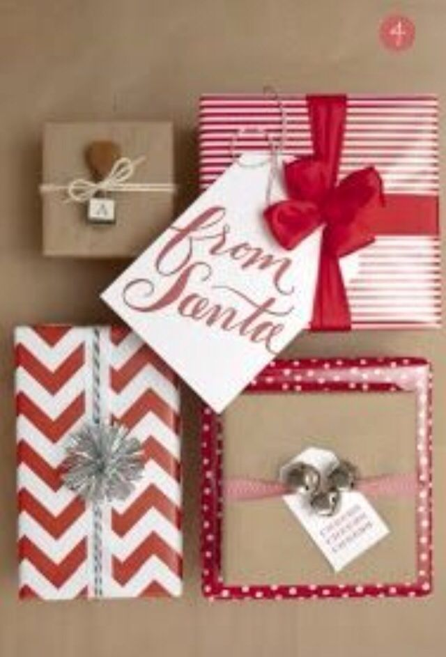 bridal shower poem for not wrapping gifts%0A Christmas wrapping inspiration  I love that every gift is wrapped  differently but they all look great together  tag from santa
