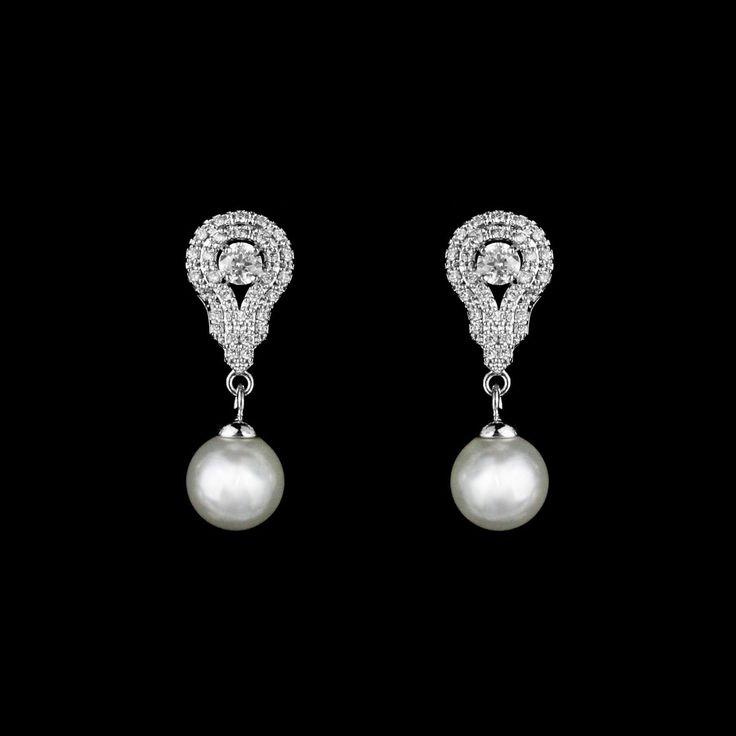 Elegant Sterling Silver CZ And Pearl Drop Wedding Earrings
