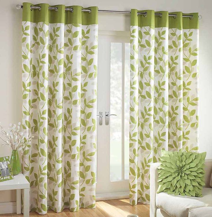 Interior Beautiful Green White Floral Curtain Window With Showy Leaf Pattern Pillow And Fancy Gray Sofa