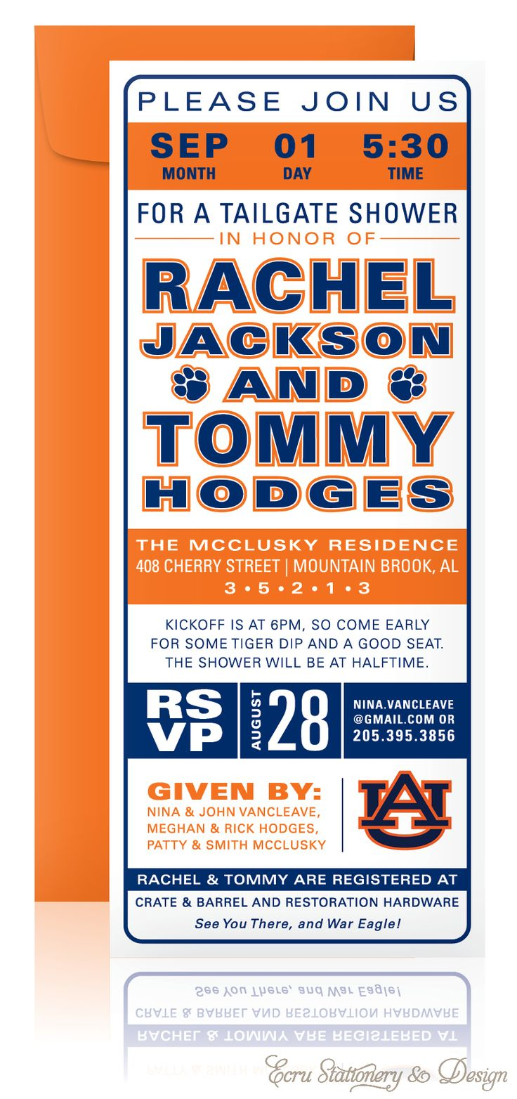 Customize your own Tailgate Shower Invitations…Auburn by ECRU Stationery & Design