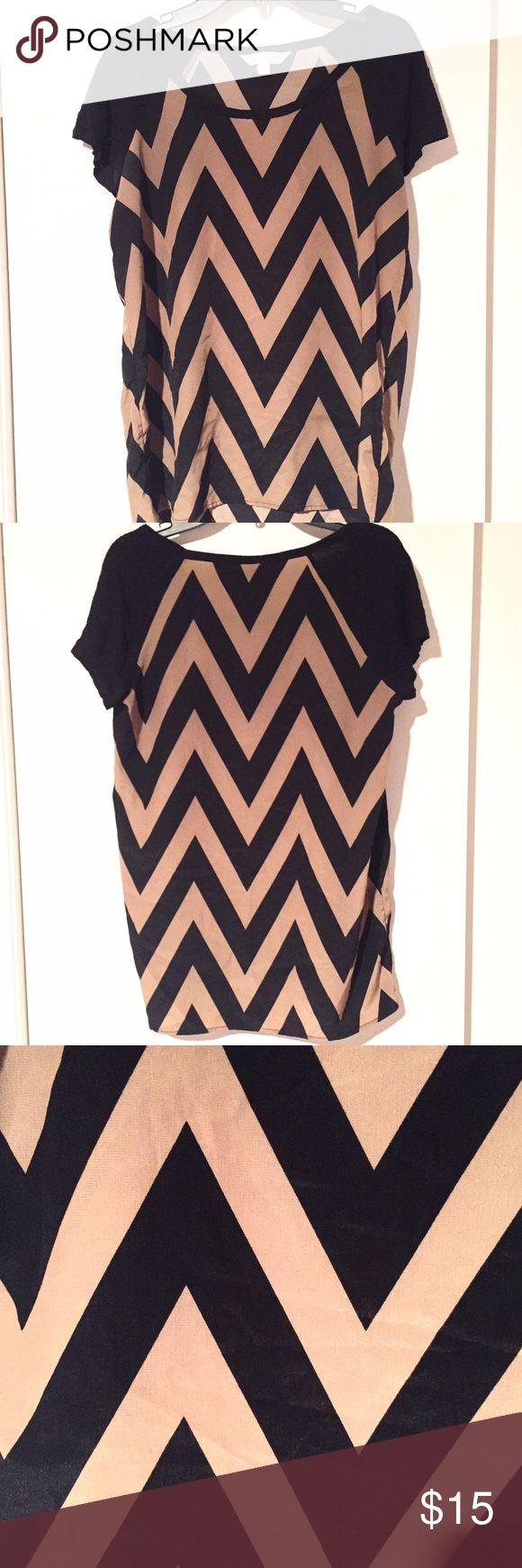 NWOT Chevron Top NWOT! Chevron top in Black and Tan. Charming Charlie Tops