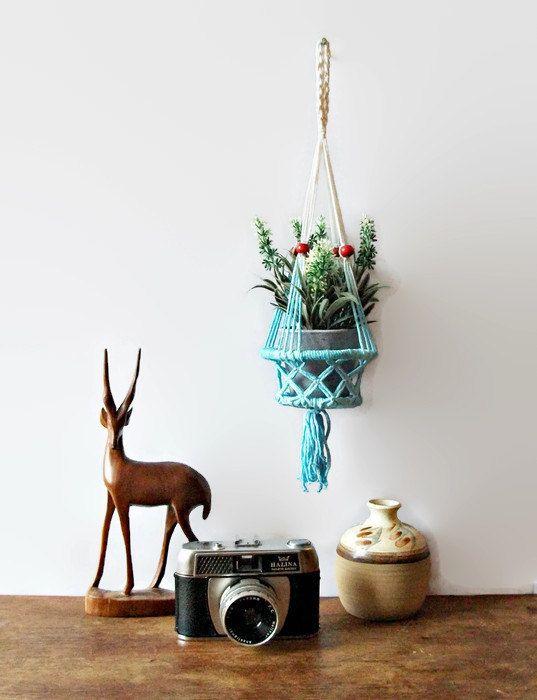 Mini-Anlage Hanger Macrame Tauchen gefärbten Ombre Boho Hippie Dekor blau Retro Wall Planter