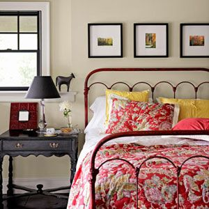 farmhouse style, country, rustic, chic, red, iron bed, vintage.