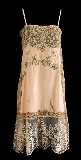 French Lace Silk slip, 1920s, from the Vintage Textile archives.New York  Vintage Linens 1a16b93f2b8