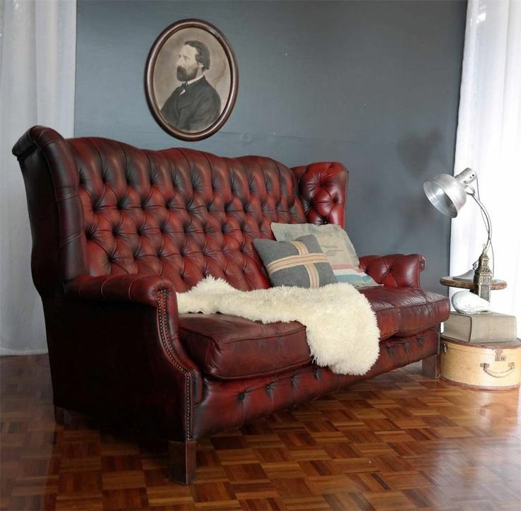 Quirky WINGBACK LEATHER CHESTERFIELD Lounge 3 Seater SOFA Vintage Industrial