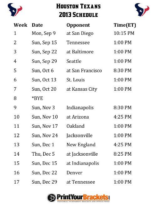 Printable Houston Texans Schedule - 2013 Football Season