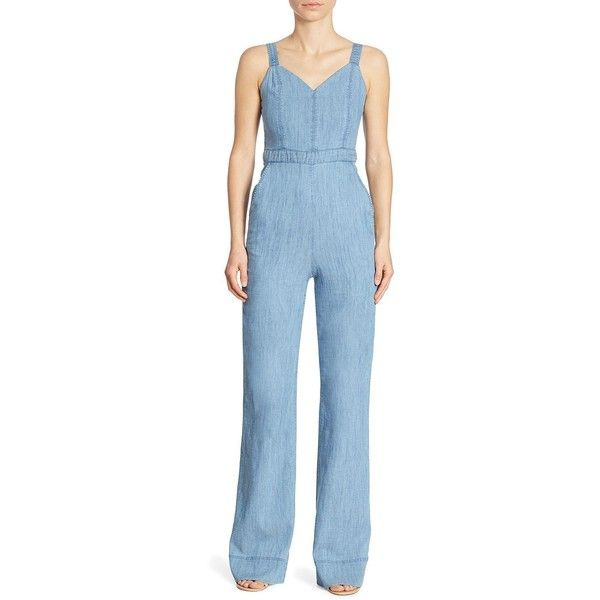 Alice + Olivia Cristal Wide-Leg Overall ($140) ❤ liked on Polyvore featuring jumpsuits, lined bib overalls, overalls jumpsuit, blue overalls, wide leg jumpsuit and lined overalls