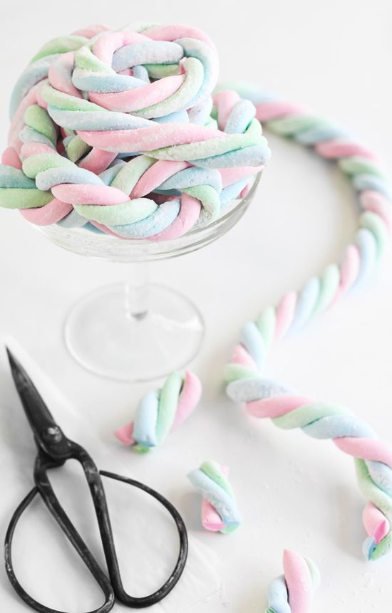 Homemade Marshmallow Ropes~T~ so pretty and so many ways you could use these.