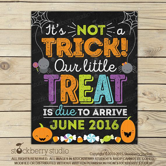 Halloween Pregnancy Announcement Chalkboard Sign by stockberrystudio