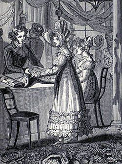 Regency lady buying fabric at a linen-draper