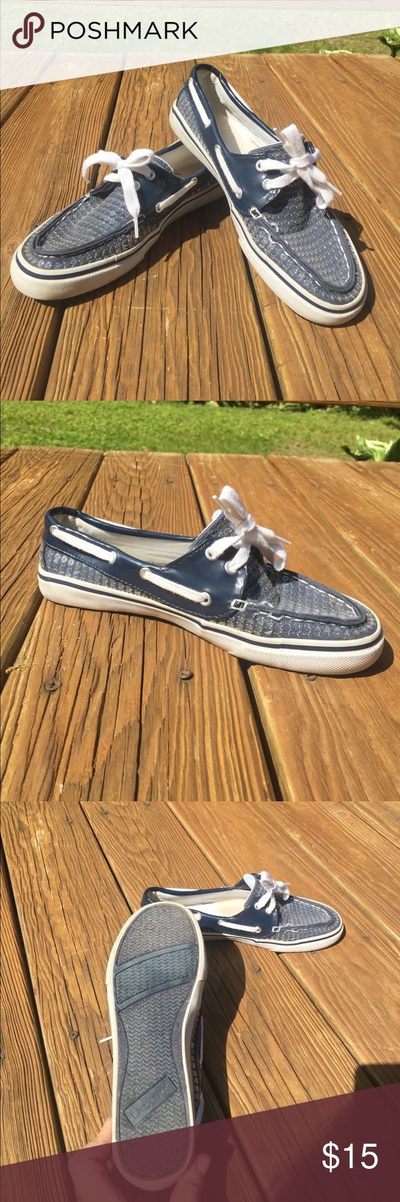 Navy Blue Boat Shoes Navy blue and Sequin Boat Shoes, Dexter brand****** only under Sperry for exposure, so cute for the summer!!! Women's size 7 in very good condition Sperry Shoes Flats & Loafers