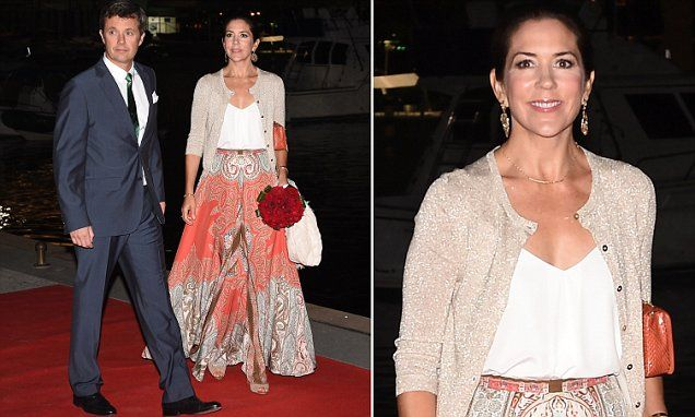 Crown Princess Mary appears to have embraced the vibrant fashions of Rio by stepping in an orange and silver printed maxi skirt. The Australian-born royal is in Brazil for the 2016 Olympics.
