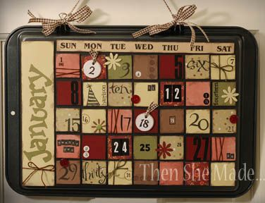 cookie sheet calendar! so adorable! magnets on the back of the pieces to change every month!
