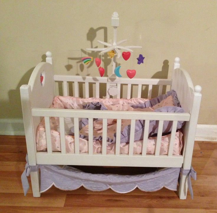 Great complete retired american girl bitty baby crib for Baby girl canopy cribs