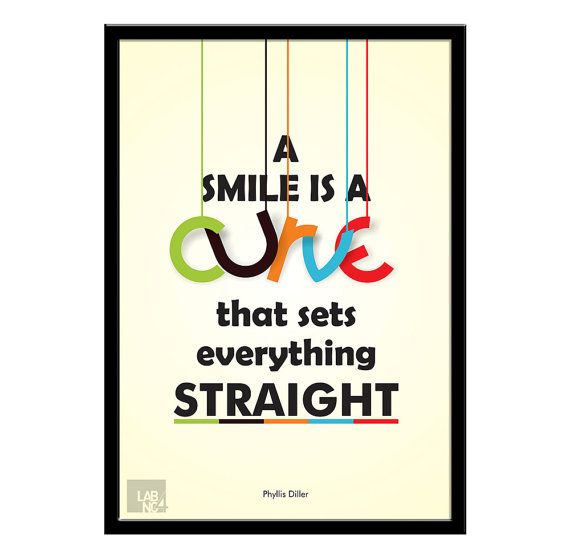 Phyllis Diller Smile Quote Modern Typographic Print by LabNo4, $17.00