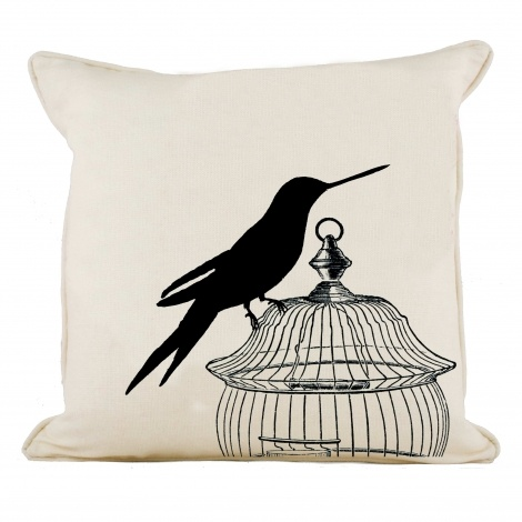 "Birdcage Collection - Caged Hummingbirds Pair ""Silhouette"""