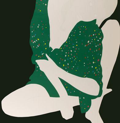"""Green Shirt on Green"" 2008 by Natasha Law. Gloss paint on aluminium 49 x 49 in / 125 x 125 cm."