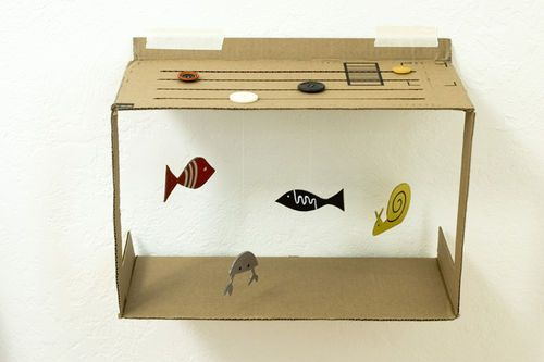 """Cool weekend project - make your own hanging """"aquarium"""" - you could paint it, make fake plants, even hang up plastic fish"""