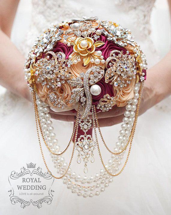 Gold Wedding Brooch Bouquet Wedding Bouquet Marsala Bouquet