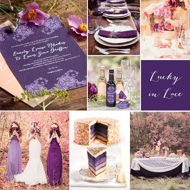 Wedding Inspiration Lucky In Lace Stationery Invitation Favor Purple Plum