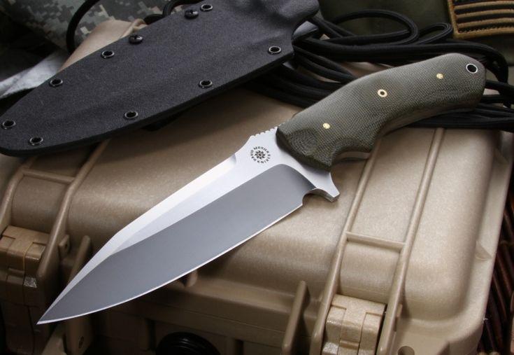 . Mosier Custom Knives SRK Green Canvas Micarta Custom Tactical Knife