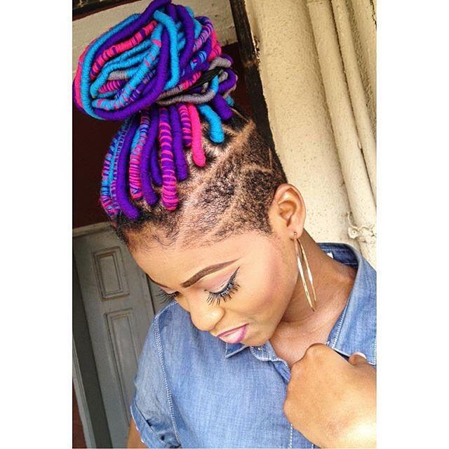 yarn dreads   yarn locs   undercut hairstyle   black girl stylin'   colorful hair   purple hair   blue hair   pink