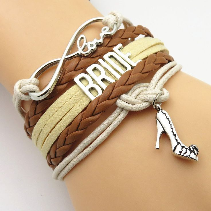 Infinity Love Brown-Tan Country Wedding Party Bracelets
