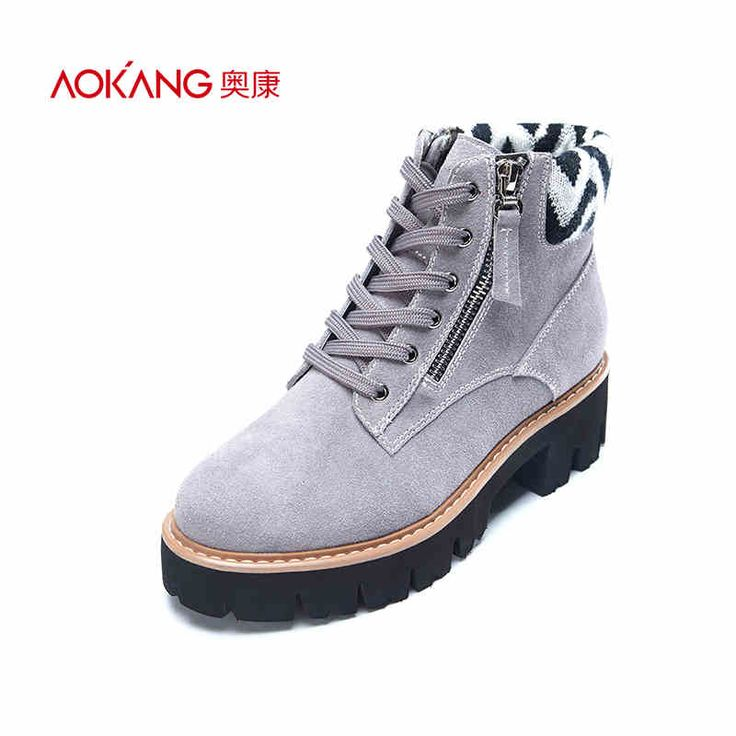 AOKANG 2016 autumn&winter women boots soft Genuine leather  fashion boots for lady  female shoes free shipping
