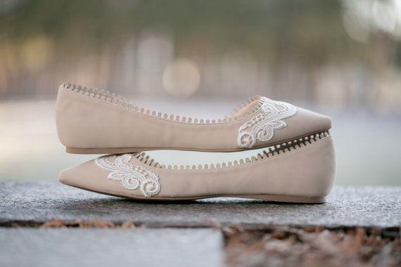 Nude Wedding Shoes Bridal Ballet Flats Wedding by walkinonair