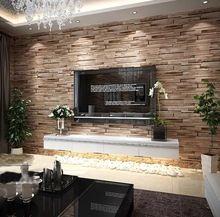 Papel de parede Modern PVC Madeira Stone Brick Wallpaper 3D Luxury Background…