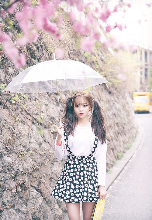 korean fashion - white blouse with black daisy suspender skirt