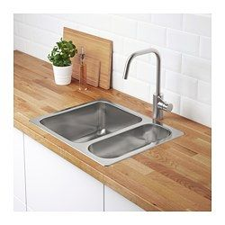 IKEA - HILLESJÖN, Inset sink 1 1/2 bowl, 25 year guarantee. Read about the terms in the guarantee brochure.Sink in stainless steel, a hygienic, strong and durable material that's easy to keep clean.Reversible, so you can use it with the large bowl on the left or right.Under the sink is a sound-absorbing material which reduces resonances in the metal when using the sink, thus lowering the sound level.