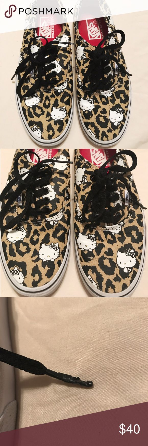 HELLO KITTY VANS NWOT Hello Kitty Vans in perfect condition, the only minor flaw is the end of the lace, which is pictured. Size 9.5 Vans Shoes