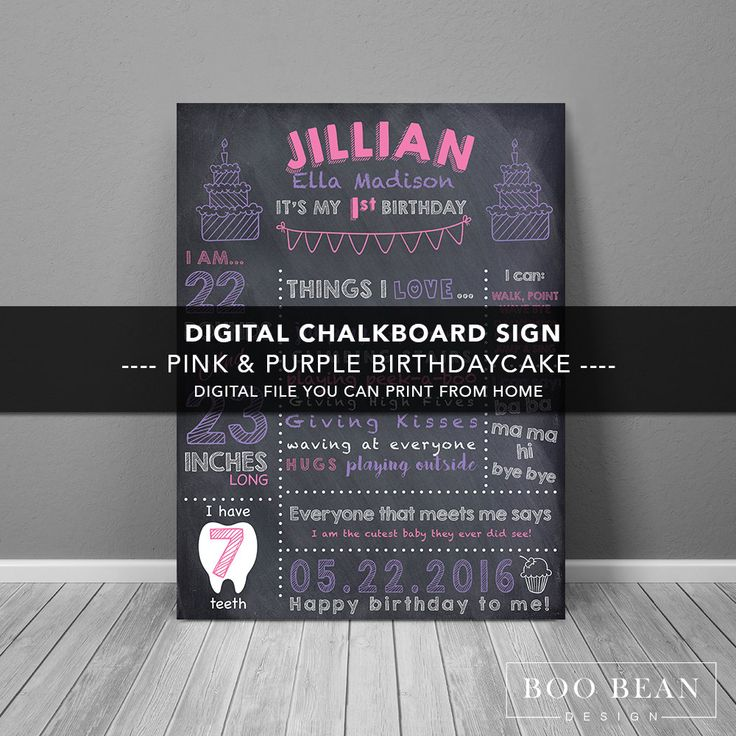First Birthday Chalkboard | Chalkboard Sign | Pink | Personalized Poster | Printable | Birthday Chalkboard Sign | Girls Chalkboard sign by BooBeanDesign on Etsy