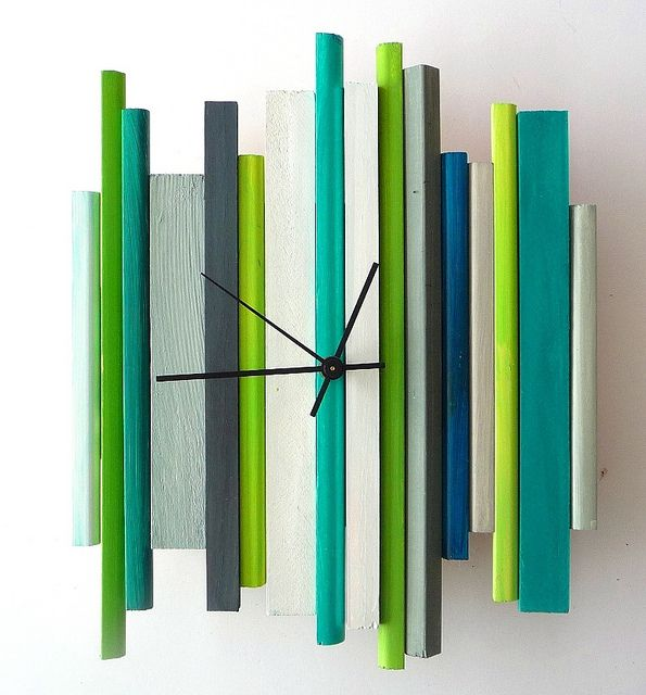 modern retro wall clock sticks sculpture clock by oneofatime